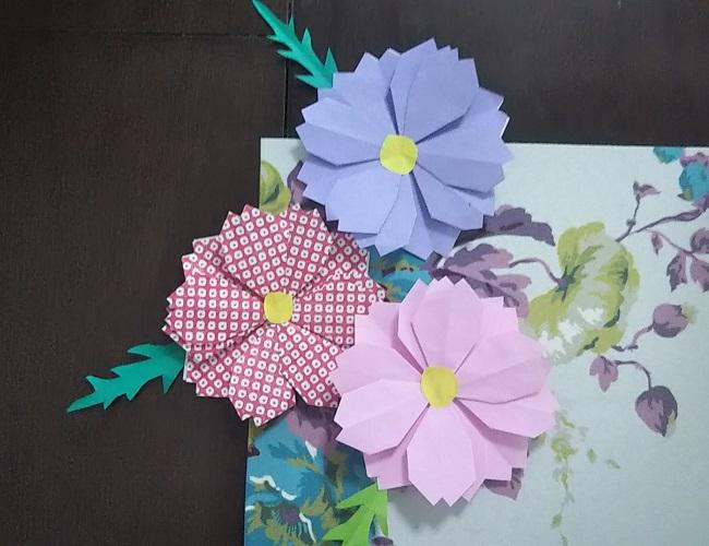 【折り紙】コスモスの花の折り方★こどもでも高齢者でも簡単♪