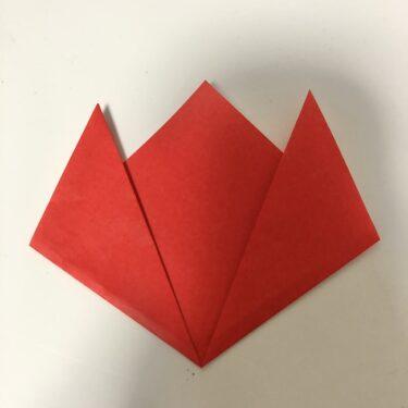チューリップの折り紙 2歳児もつくれた簡単な折り方★子供も高齢者もにもやさしい基本の作り方