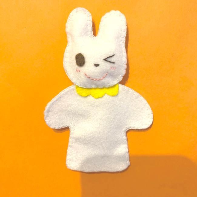 フェルトの指人形の作り方☆型紙(無料)つき (うさぎ)