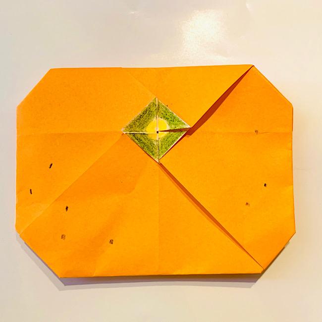 折り紙【果物・みかんの折り方】簡単♪3歳年少の子供と一緒につくった作り方