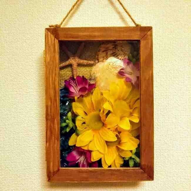 100均の造花ひまわりの壁飾りを手作り☆壁掛けインテリアの簡単な作り方