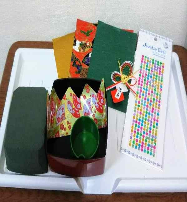 お正月アレンジメントを手作り♪造花と100均材料で簡単! (2)