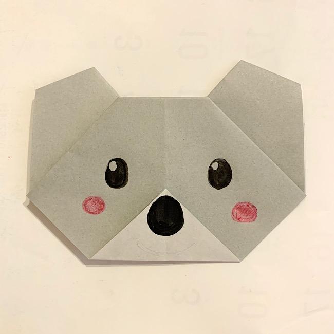 コアラの折り紙・作り方|紙1枚で簡単・可愛い動物コアラの顔を折ろう♪