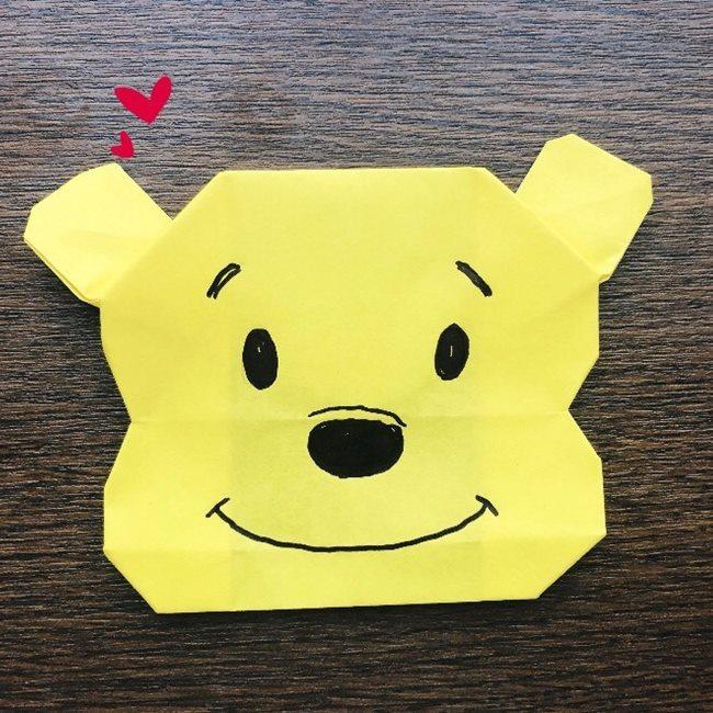 プーさんの折り紙のやり方・作り方★簡単♪ディズニーキャラクタープーさんの顔を作ったよ