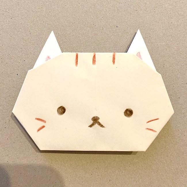 折り紙【平面のねこ(猫)・顔の折り方】かわいい・簡単♪幼稚園・保育園の制作にも★