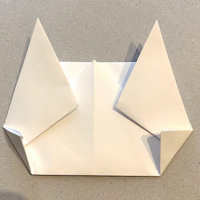 折り紙|平面の猫(ねこ)の折り図 (9)
