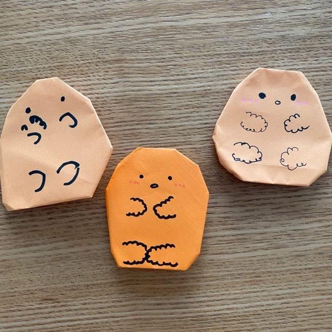 すみっコぐらし★とんかつの折り紙は簡単♪6歳の子供でも作れた!