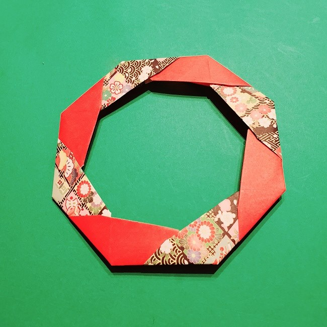 【1月】折り紙のお正月リースの作り方 (24)