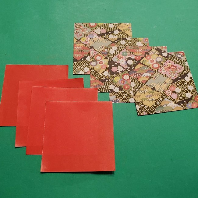折り紙でつくるお正月飾り・用意折り紙