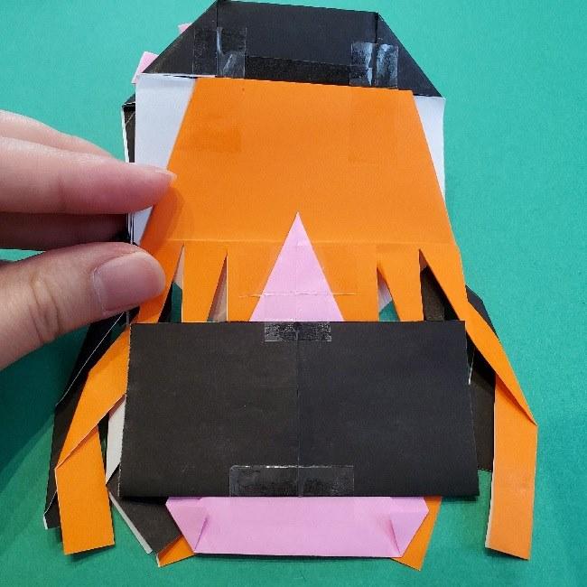 鬼滅の刃ねずこの羽織(折り紙は1/4サイズ)作り方