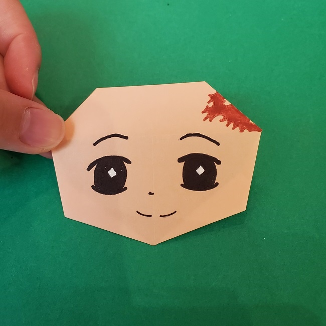 【鬼滅の刃の折り紙】折り方・作り方『たんじろう(炭治郎)』(画像つき折り図)顔