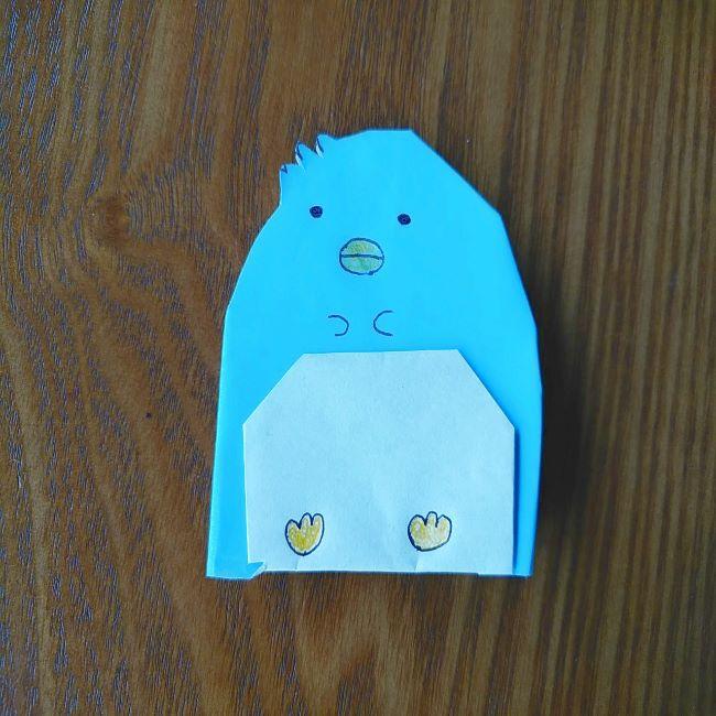 すみっこぐらしの折り紙もぐら・ぺんぎん(本物)の折り方 (10)