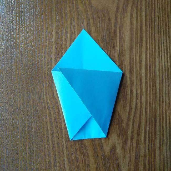 すみっこぐらしの折り紙もぐら・ぺんぎん(本物)の折り方 (3)