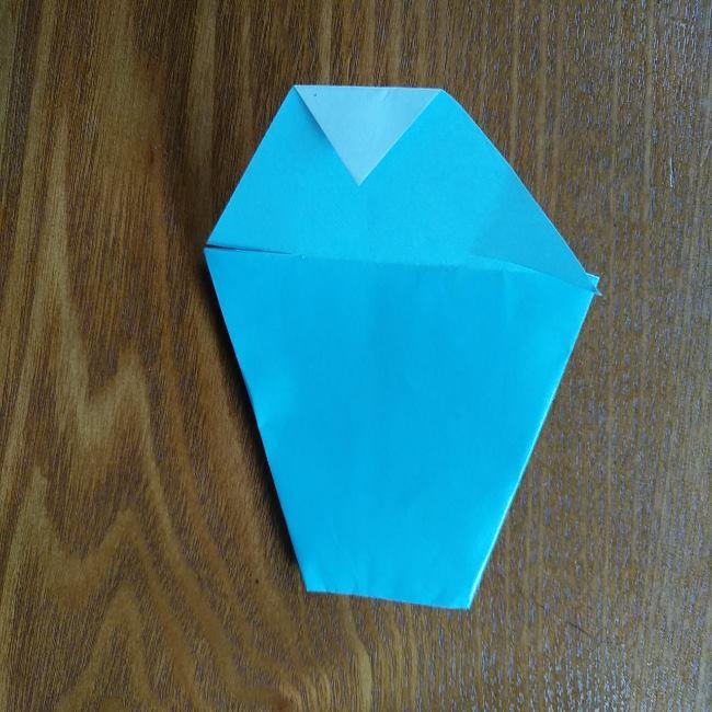 すみっこぐらしの折り紙もぐら・ぺんぎん(本物)の折り方 (5)