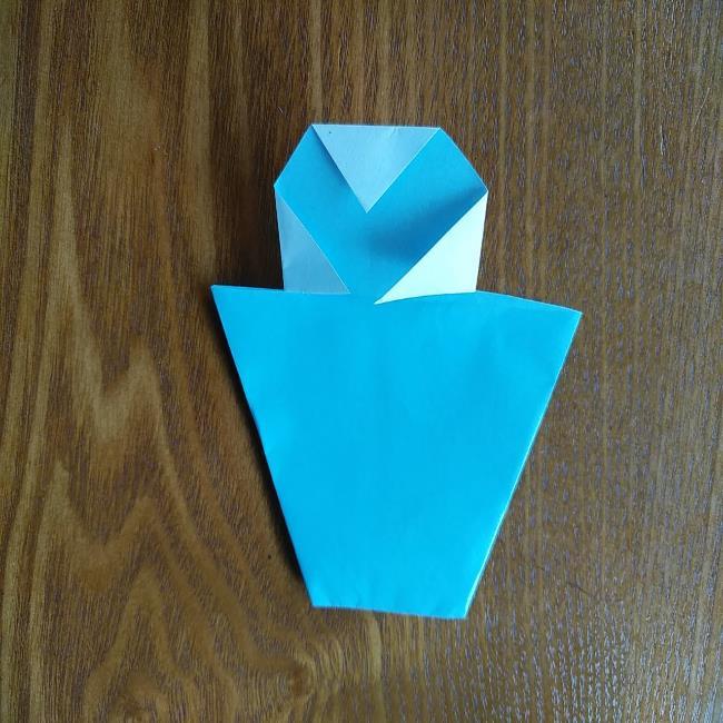 すみっこぐらしの折り紙もぐら・ぺんぎん(本物)の折り方 (6)