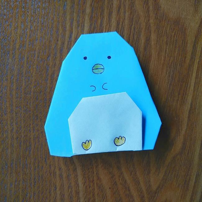 すみっこぐらしの折り紙もぐら・ぺんぎん(本物)の折り方 (9)