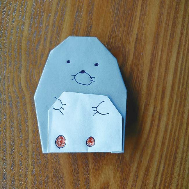 すみっこぐらしの折り紙もぐら・ぺんぎん(本物)の折り方(11)