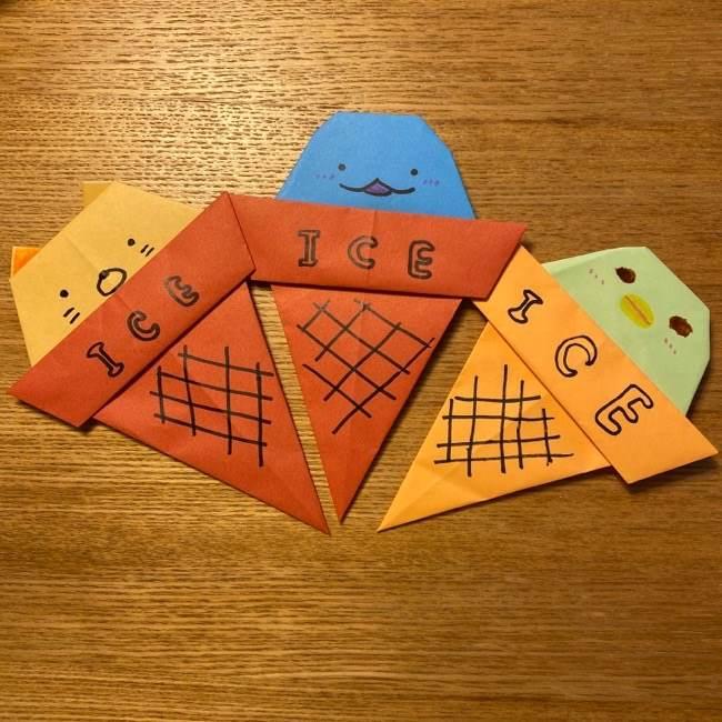 すみっこぐらしの折り紙アイスは簡単かわいい!子供と一緒に作ったよ