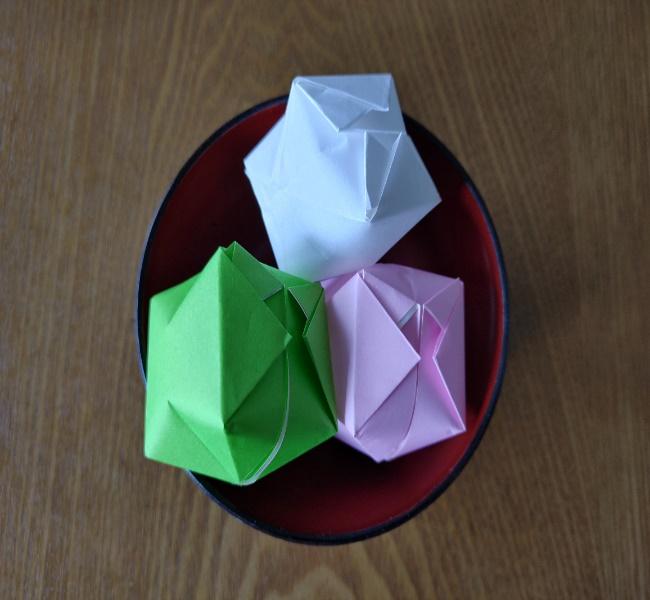 ひな祭りの折り紙 ひなあられの折り方★立体的なのに簡単でかわいい作り方