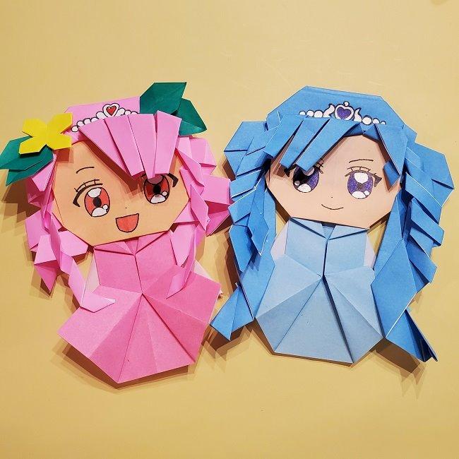 プリキュアの折り紙は簡単かわいい!キュアフォンテーヌは髪型がポイント♪