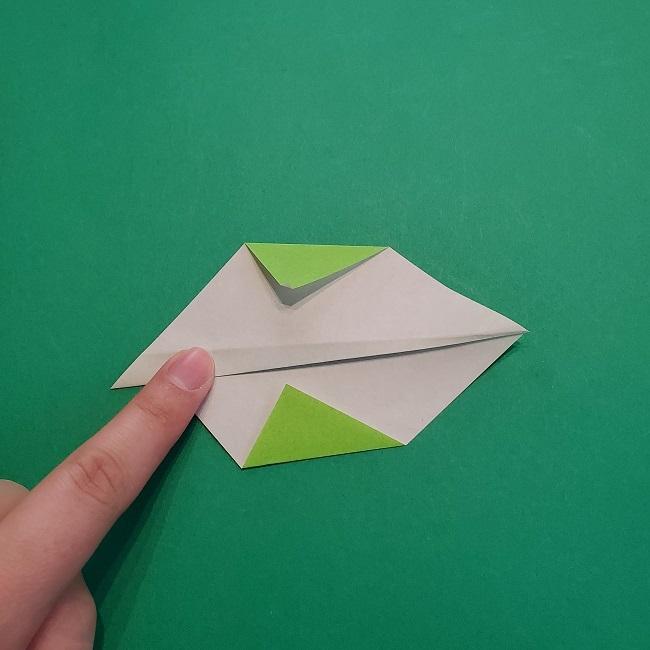 折り紙の【椿の葉っぱ】の折り方★折り図 (7)
