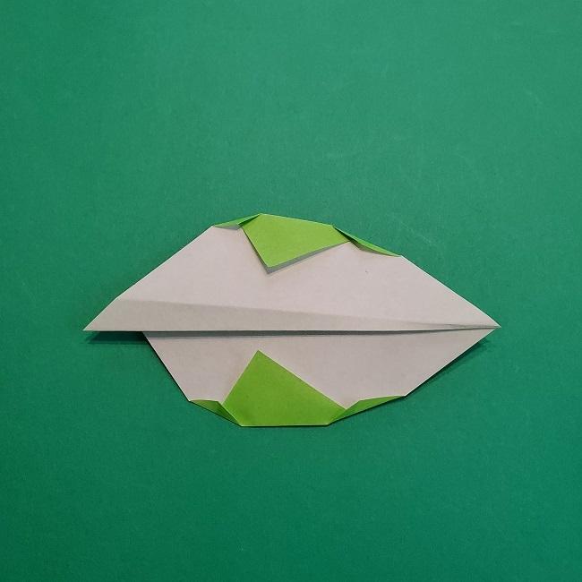 折り紙の【椿の葉っぱ】の折り方★折り図 (9)