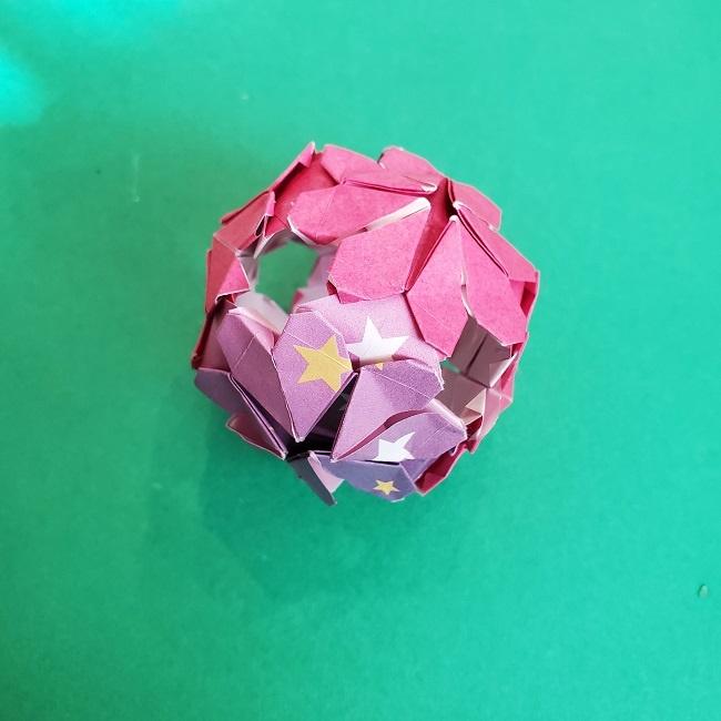 折り紙のくす玉(ハート・ミニサイズ)作り方 (33)