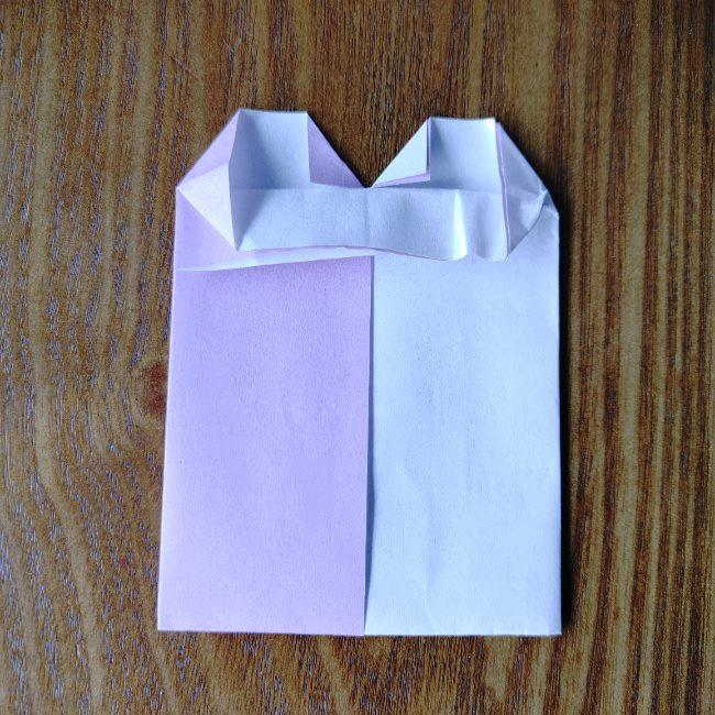 折り紙のハート(二色)の折り方・作り方 (9)
