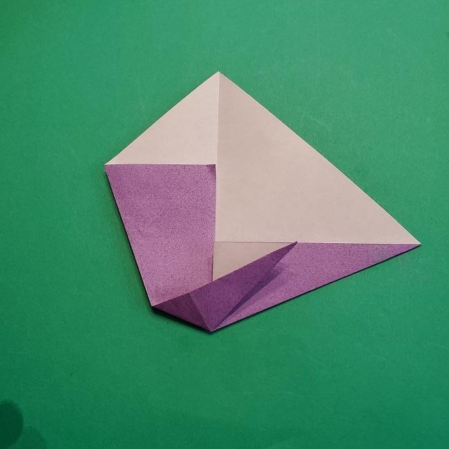 折り紙の椿(平面)の折り方・作り方(10)
