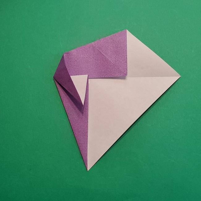 折り紙の椿(平面)の折り方・作り方(11)