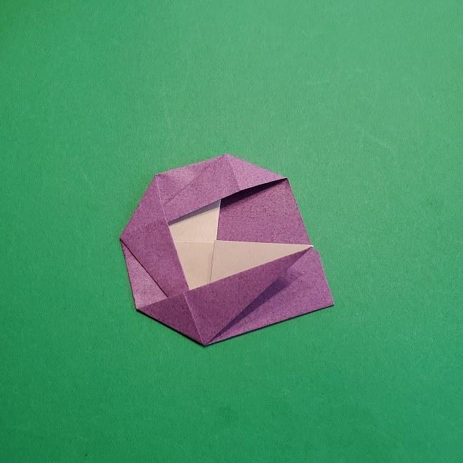 折り紙の椿(平面)の折り方・作り方(15)
