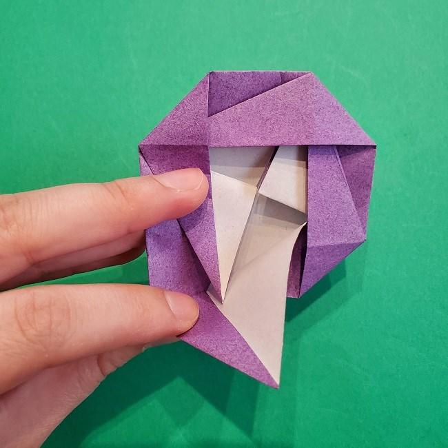折り紙の椿(平面)の折り方・作り方(18)