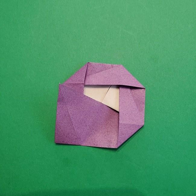 折り紙の椿(平面)の折り方・作り方(19)