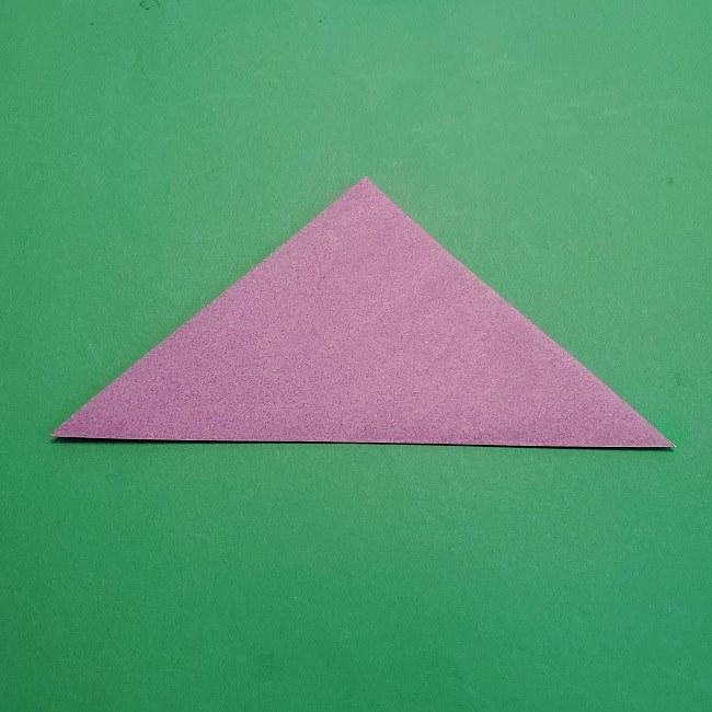 折り紙の椿(平面)の折り方・作り方(2)