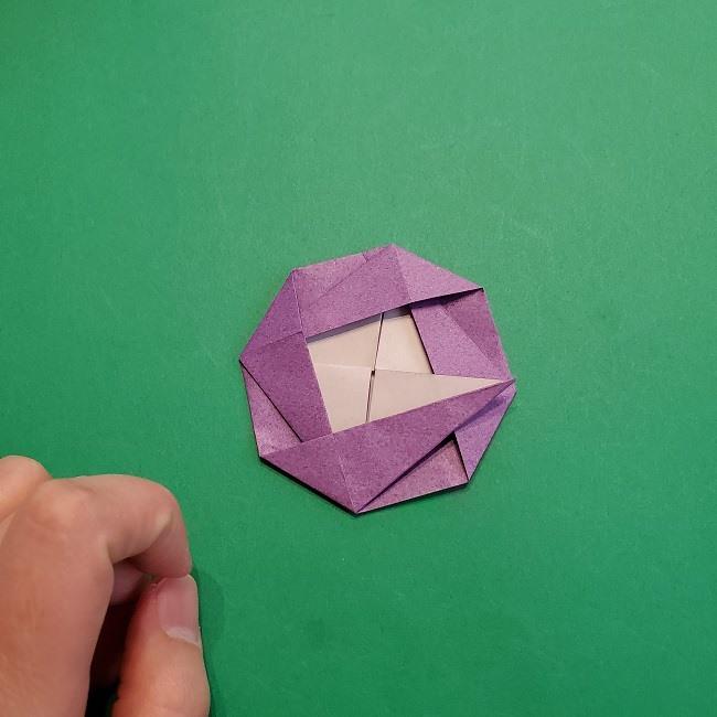 折り紙の椿(平面)の折り方・作り方(20)