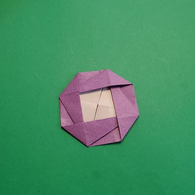 折り紙の椿(平面)の折り方・作り方(21)