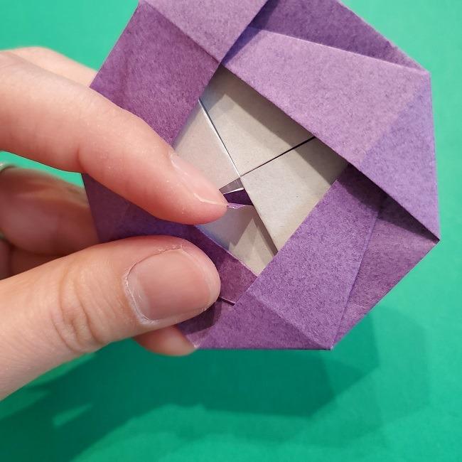 折り紙の椿(平面)の折り方・作り方(23)