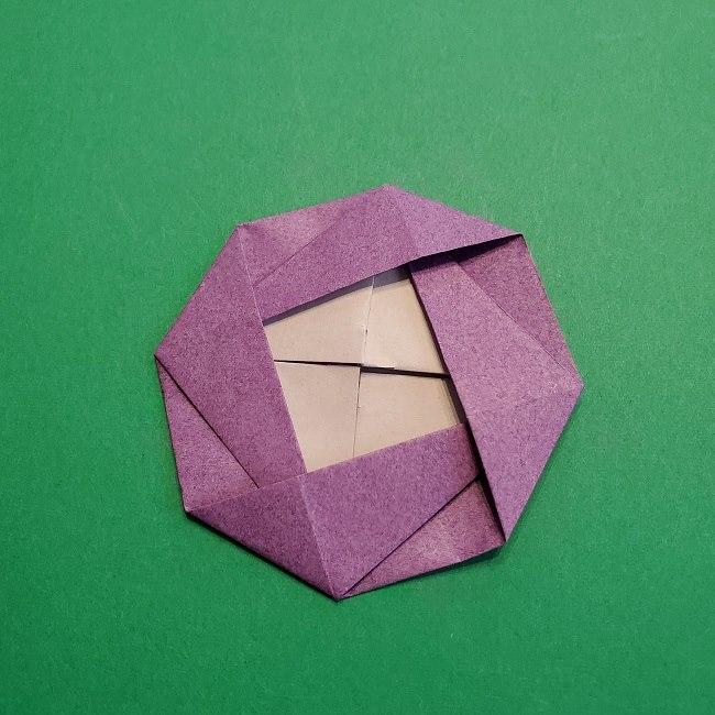 折り紙の椿(平面)の折り方・作り方(24)