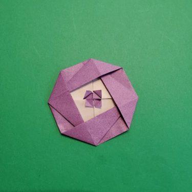 折り紙の椿(平面)の折り方・作り方(25)