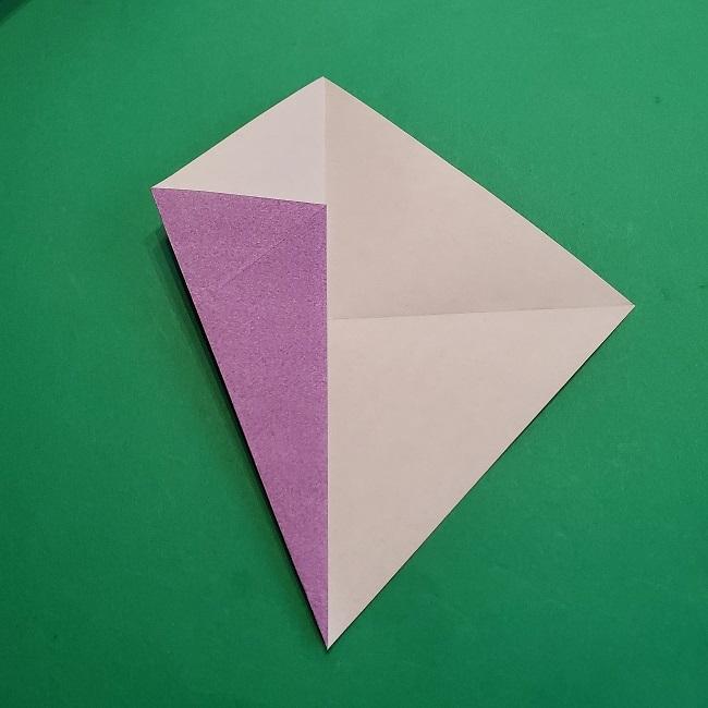 折り紙の椿(平面)の折り方・作り方(7)