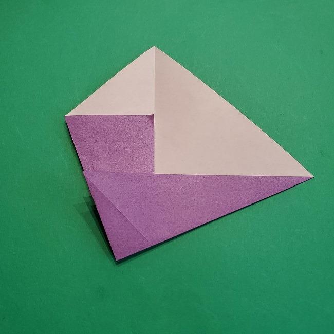 折り紙の椿(平面)の折り方・作り方(8)