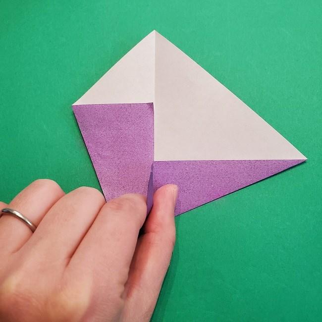 折り紙の椿(平面)の折り方・作り方(9)