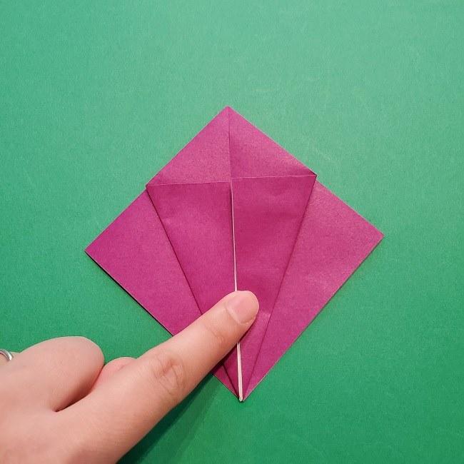 椿の折り紙(立体)の作り方・折り方 (11)