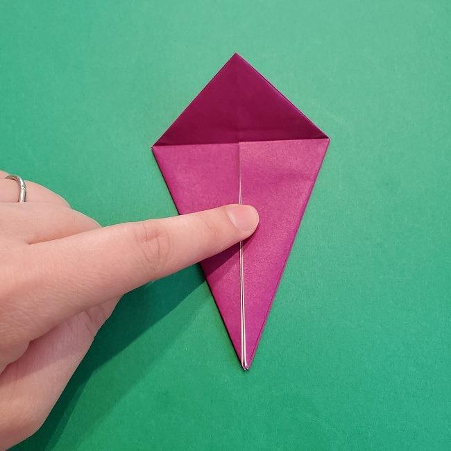椿の折り紙(立体)の作り方・折り方 (14)