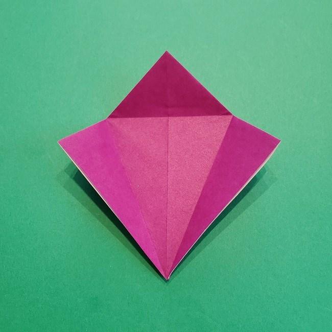 椿の折り紙(立体)の作り方・折り方 (15)