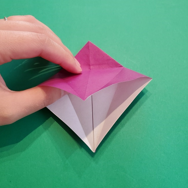椿の折り紙(立体)の作り方・折り方 (16)