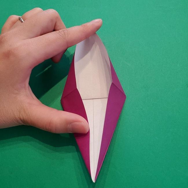 椿の折り紙(立体)の作り方・折り方 (17)