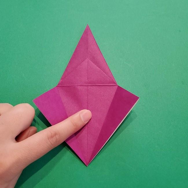 椿の折り紙(立体)の作り方・折り方 (20)