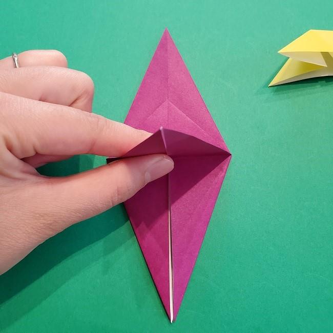 椿の折り紙(立体)の作り方・折り方 (31)