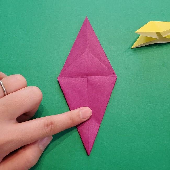 椿の折り紙(立体)の作り方・折り方 (32)